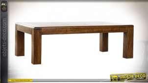 Table basse style traditionnel en bois d'acacia, 110cm