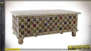 Table basse en bois de manguier coloré style boho, plateau relevable, 116cm