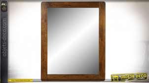 Miroir mural en bois d'acacia style rustique, 100cm
