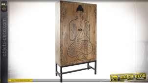 Armoire en bois de manguier finition naturelle, Bouddha noir gravé, 196cm