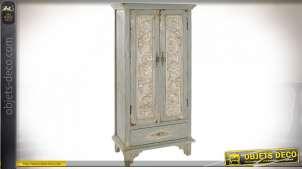 Armoire vert opaline et beige en bois effet vieilli style brocante, 148cm