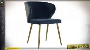 Chaise bleu marine effet velours finition dorée esprit rétro, 78cm