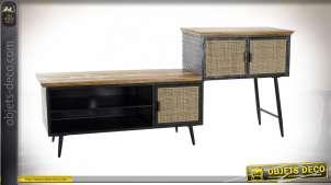 Meuble TV style industriel en rotin finition naturelle et métal noir, 202cm