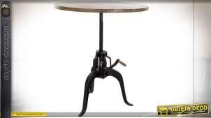 Table noire en bois recyclé de style industriel, hauteur ajustable avec crémaillère, 106cm