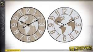 Série de deux horloges murales d'affiche mappemonde, 60cm