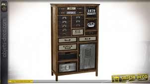 Commode chiffonnier en métal et bois de paulownia style industriel, 131cm