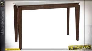 Console en bois de noyer et plateau en céramique blanche esprit rétro, 119cm