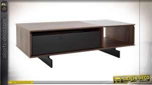 Table basse en bois de noyer et céramique esprit rétro, 120cm