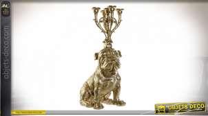 Chandelier bulldog en résine à cinq branches finition dorée, 71cm