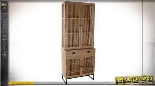 Vaisselier 4 portes de style traditionnel en bois de chêne finition naturelle, 203cm