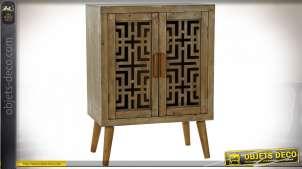 Meuble d'appoint en bois sculpté de style ethnique, finition clair, 81cm