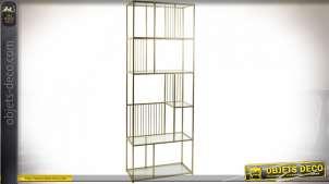 Étagère en verre et métal finition dorée style moderne, 176cm
