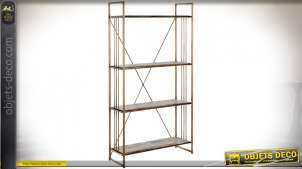 Étagère en bois et métal finition dorée style rustique chic, 162.5cm
