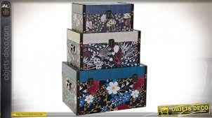 Série de 3 boîtes décoratives de rangement, motifs fleuris multicolores, 35cm