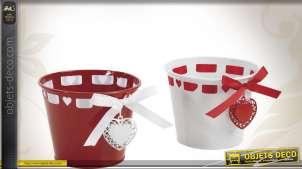 Série de deux cache-pots en métal avec rubans