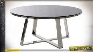 Table basse de style moderne en verre et métal finition chromée, 100cm