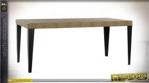 Grande table de jardin en rotin synthétique, finition clair et pieds noir mate, 180cm