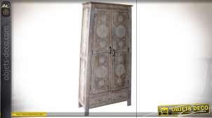 Armoire en bois de manguier, 2 portes et 2 tiroirs, style indien esprit mandala, 182cm