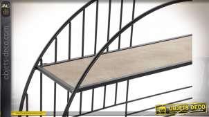 Étagère de forme circulaire en bois et métal de style industriel, 2 niveaux, 80cm