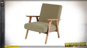 Fauteuil en bois de style rétro, dossier et assise de couleur vert ancien, 76cm