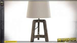 LAMPE DE TABLE BOIS POLYESTER 30X30X49,5