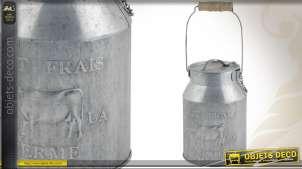 Pot à lait en zinc avec poignée en bois ancien