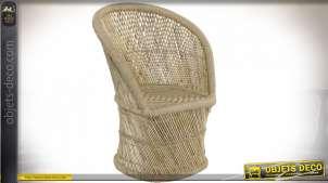 Fauteuil inspiration Emmanuel en bambou et corde, finition naturelle, 93cm