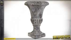 Vase de jardin à godrons style Médicis effet vieilli, 46cm