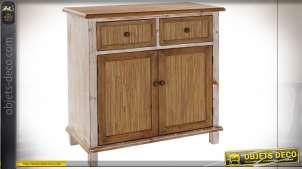 Buffet en bois de sapin finition naturelle et blanchie style cottage, 80.5cm