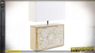 Lampe à poser en bois de manguier style campagne chic, 60cm
