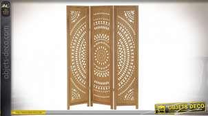 Paravent en bois finition naturelle à trois vantaux, 170cm