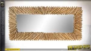 Grand miroir mural style bord de mer finition naturelle, 166cm