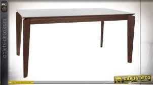 Table en bois de noyer et céramique style rétro, 160cm