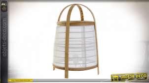LAMPE DE TABLE BAMBOU LIN 32X32X45,5 BLANC