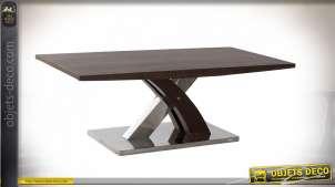 Table basse moderne finition brou de noix et argentée, 120cm