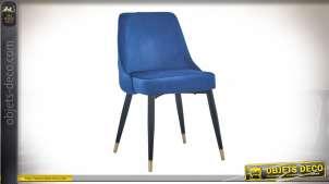Chaise à dossier capitonné finition velours bleu style contemporain, 84cm