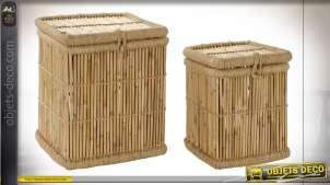 Série de deux corbeilles à linge en bambou et corde finition naturelle style exotique, 55cm