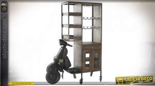 Grand meuble bar Vespa noir en bois brun bitume esprit retro, 198.5cm