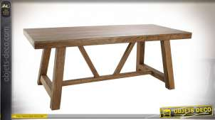 Table de style montagnard en bois d'acacia massif finition naturelle, 200cm