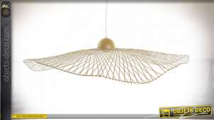 Suspension luminaire libellule style exotique en bambou finition naturelle, 88cm