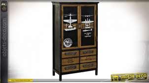 Vitrine style aviateur en bois finition noire et brun noisette, 125.5cm
