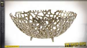 Centre de table corail en aluminium finition dorée style bord de mer chic, 34cm