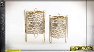 Série de deux caches pots en métal blanc et doré style boho chic, 36cm
