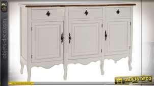 Buffet de style cottage en bois finition blanche et brune, pieds galbés, 140cm