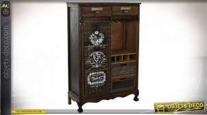 Meuble bar style industriel en bois et métal finition noire et brune, 137.5cm