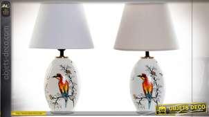 LAMPE DE TABLE GRÈS LIN 25X25X41 OISEAUX 2 MOD.
