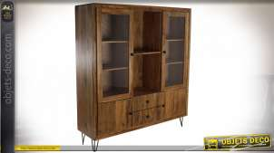 Grande vitrine de style rétro en bois d'acacia finition brun clair, 162cm