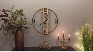 Horloge murale en bois et métal doré, de style moderne et épuré, modèle sans fond, Ø 58cm