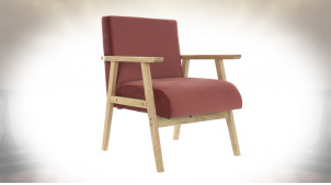 FAUTEUIL POLYESTER MDF 67X70X76 VELOURS ROUGE