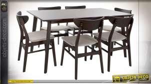 TABLE SET 6 CHÊNE POLYESTER 150X90X74 MARRON